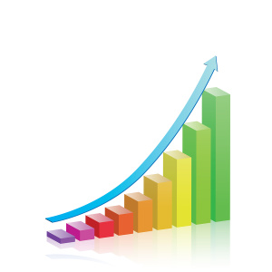 Colorful bar chart with an arrow depicting growth.